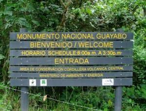 Parc-national-Guayabo-panneau-entree